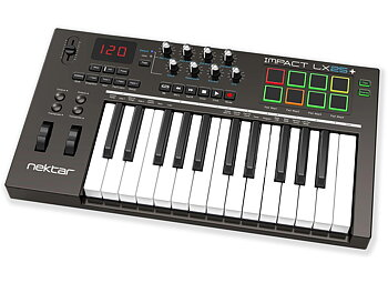 Nektar Impact LX25+ - 25-tangenters USB-klaviatur med regel, rattar & pads