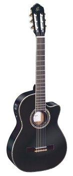 ORTEGA RCE141BK Klassisk gitarr 4/4 Size, med mik, Gloss Black