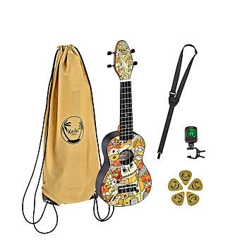 ORTEGA K2-VP Keiki Soprano ukulele-pack, Voodoo