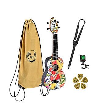 ORTEGA K2-EM Keiki Soprano ukulele-pack, El Muerto