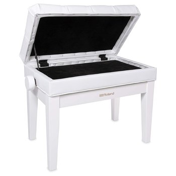 Roland RPB-500PW PIANO BENCH, POLISHED WHITE, VINYL SEAT, MUSIC COMPARTMENT