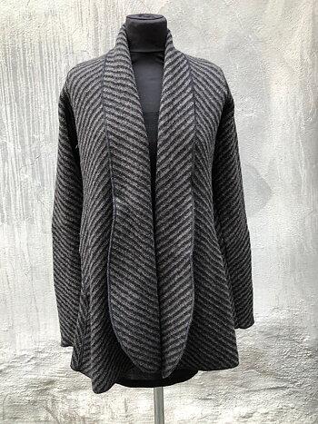 Koftkavaj i Diagonal varmgrå/svart