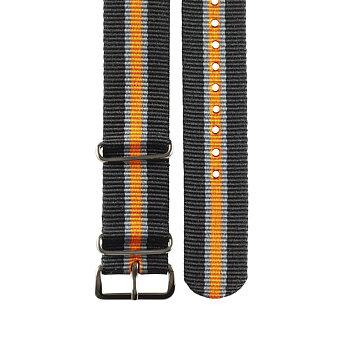 """Natoarmband – """"Svart, grå och orange"""""""