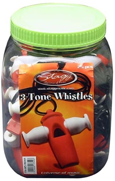 3-Tone Whistle/25Pc/Box/Rd/Wh