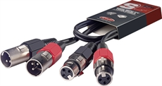 60CM/2FT TWIN CABLE XLRm-XLRf