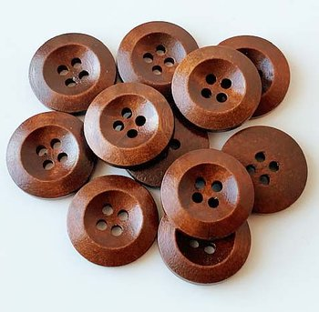 Brown turned button four holes 20mm