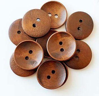 Brown wooden button 2 holes 23mm