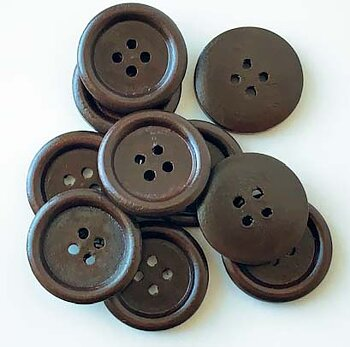 Dark brown wooden button 4 holes 23mm