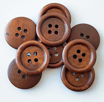 Brown wooden button 4 holes 23mm