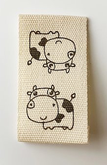 Printed cotton label Cow