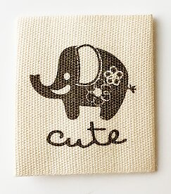 Printed cotton label Elephant
