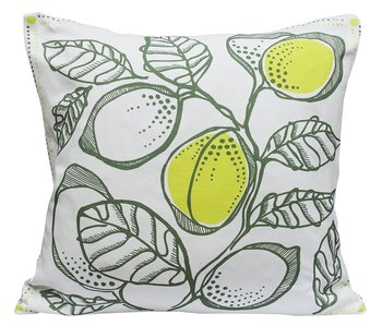 LEMON TREE olive green & lemon & white 50x50 cm