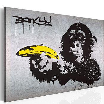 Tavla - Canvastavla - Stanna eller så skjuter apan - Banksy