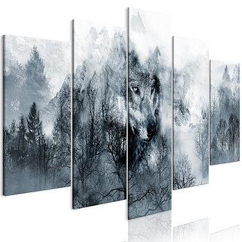 Tavla - Canvastavla - Vargen i skogen (5 delar)