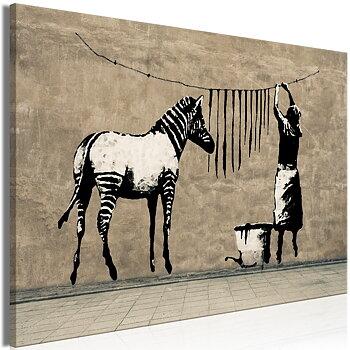 Tavla - Canvastavla - Zebrans svarta ränder på tork - Banksy