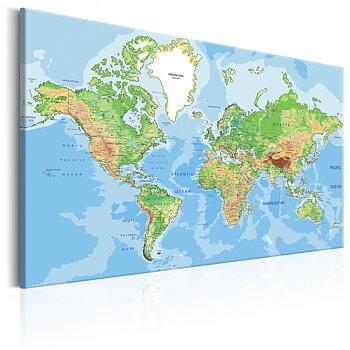 Tavla - Canvastavla - Världskarta att upptäcka