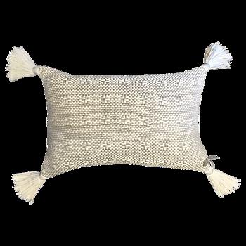 Kudde  vit/oblekt med vita tofsar