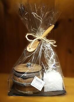Presentförpackning keramikburk m. lock, träsked & gourmetsalt