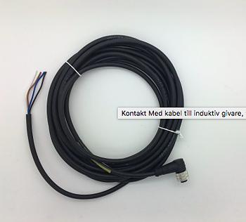 Kontakt till induktiv givare, med kabel, vinklad