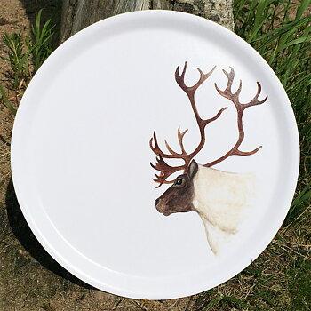 Round tray 38 cm - Reindeer - Boazu - White