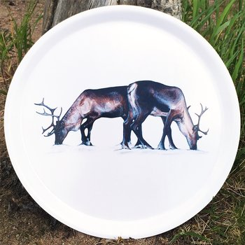 Round tray 38 cm - Grazing reindeers