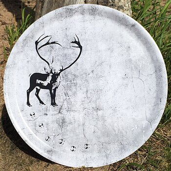 Round tray 38 cm - Reindeer with tracks - Granite