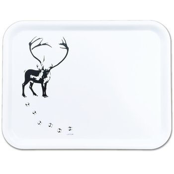 Rectangular tray 27x20 cm - Reindeer with tracks - White