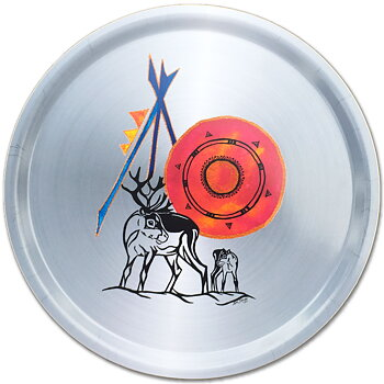 Round tray 38 cm - Reindeer doe with calf - Tin