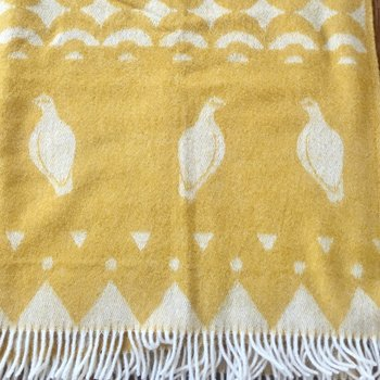 Wool plaid blanket - Skum & Skum - Yellow/White