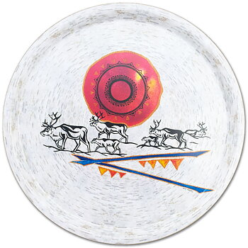 Round tray 38 cm - Reindeer herd - Birch bark