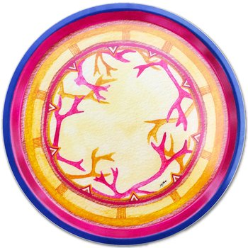 Round tray 38 cm - Coloured antlers