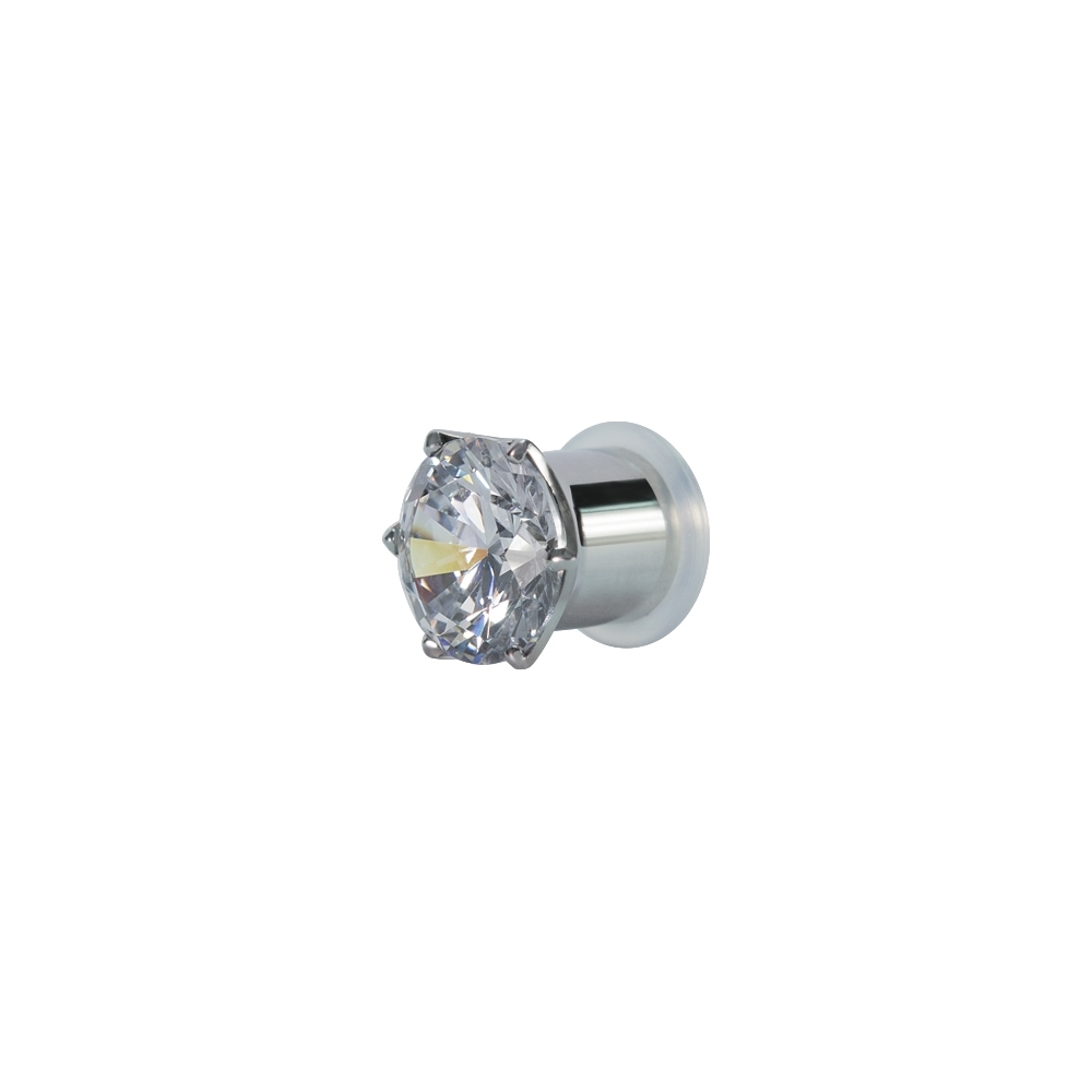 Fleshtunnel - Mindre - 3-6 mm - stål - vit kristall