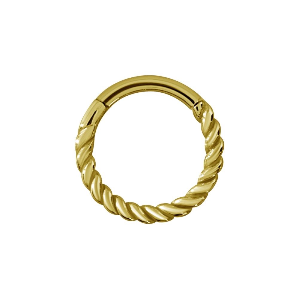 Vackert twistad clickerring-guldfärgad-stål-1,2mm