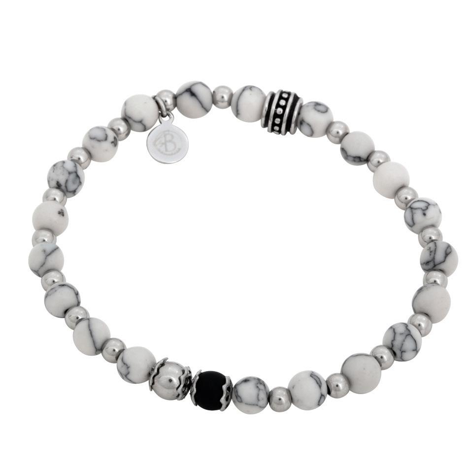 By Billgren Elastisk armband, vit, svart och stål