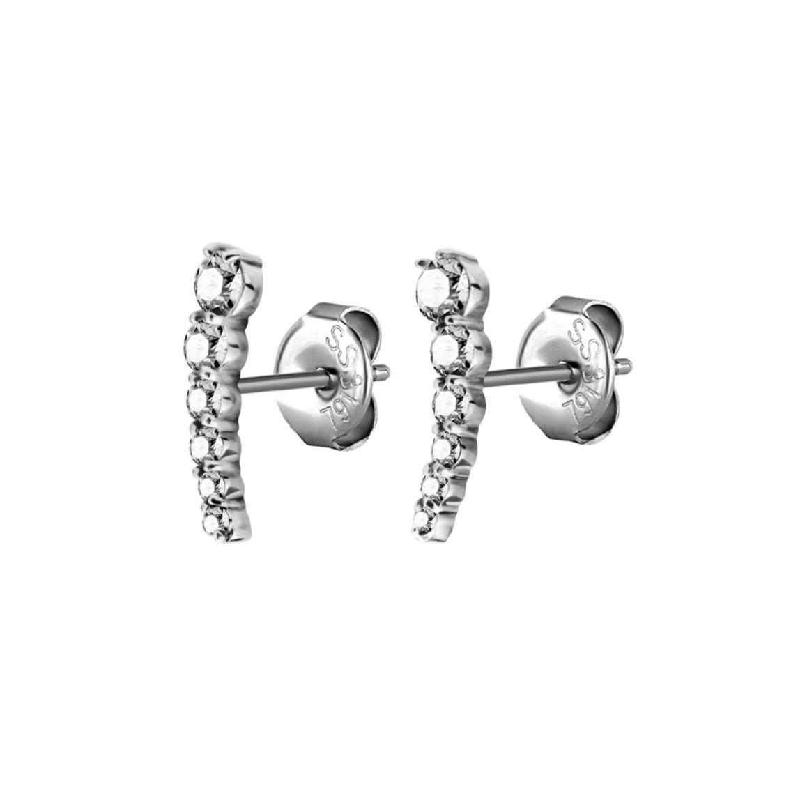 Örhänge - båge - 6 kristaller - kirurgiskt stål