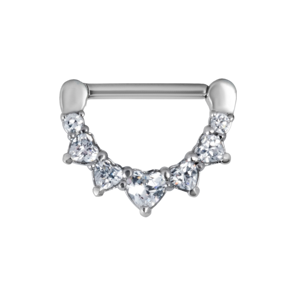 Clicker (13) - 1,6 mm - 12 & 14 mm - stål - vita kristaller