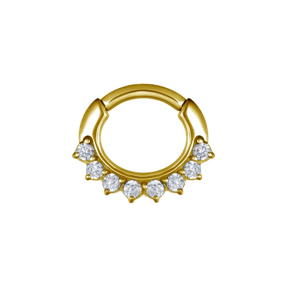 Clicker curved small - 1,2 - 6 mm - guld med vit kristall