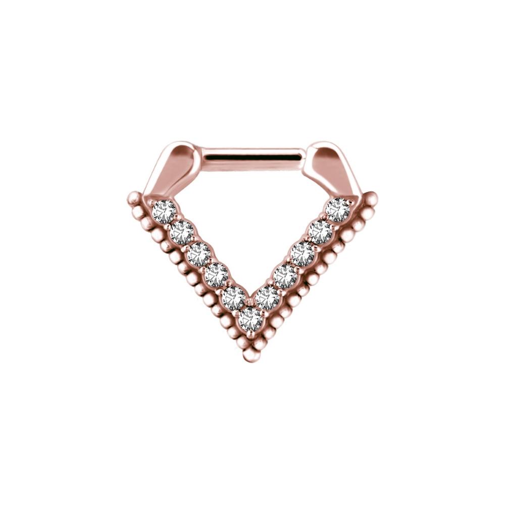 Clicker - roséguld - triangel - kristaller