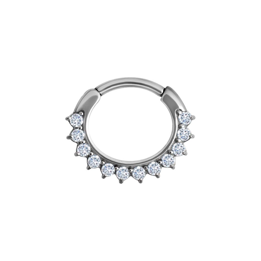 Clicker curved large - 1,6 - 8 mm - stål med vita kristaller