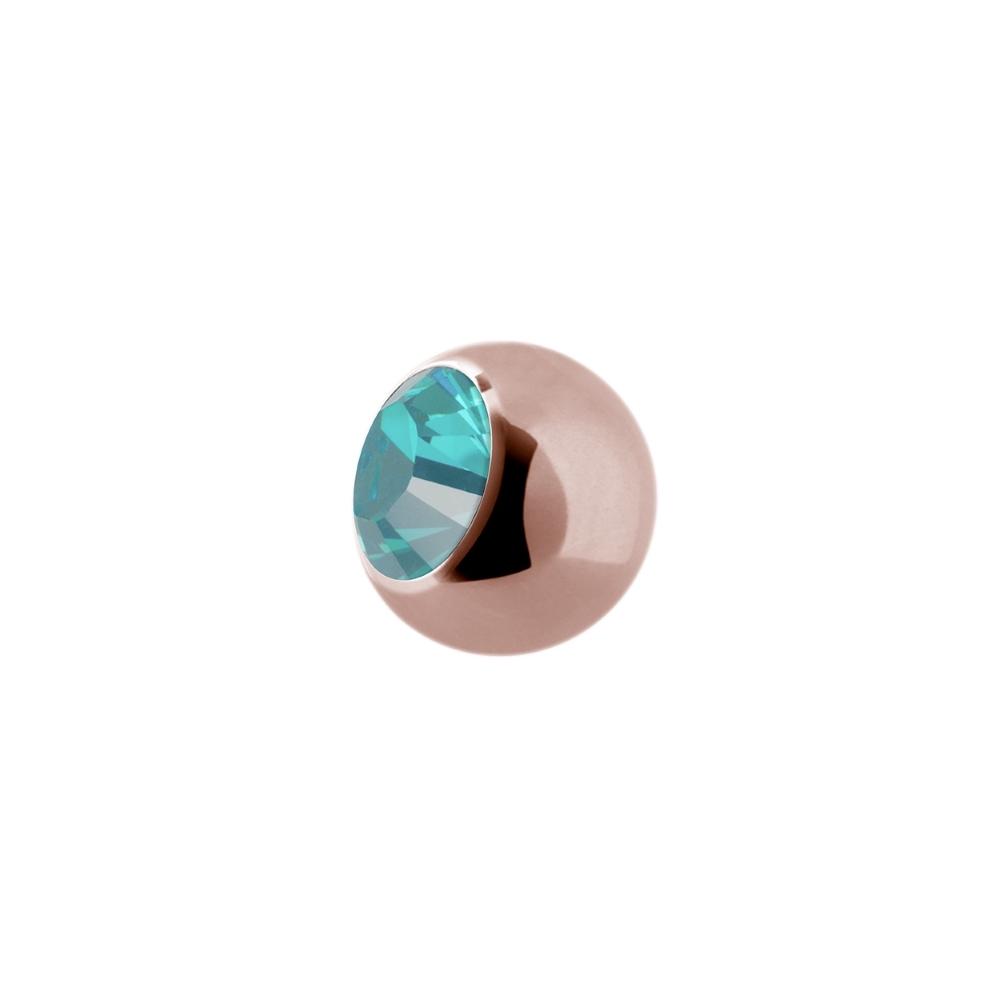 Liten extrakristall - 1,2 mm - Roséguld - Ljusblå kristall