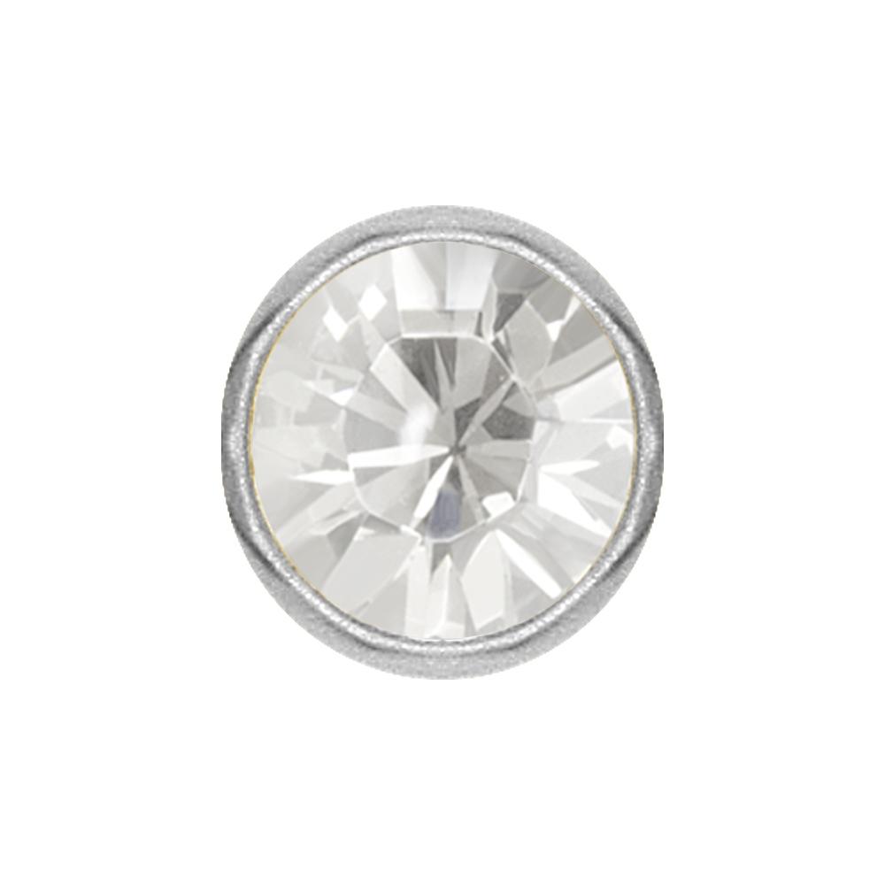 Extrakristall till smiley - 4 mm - Stål - Vit kristall