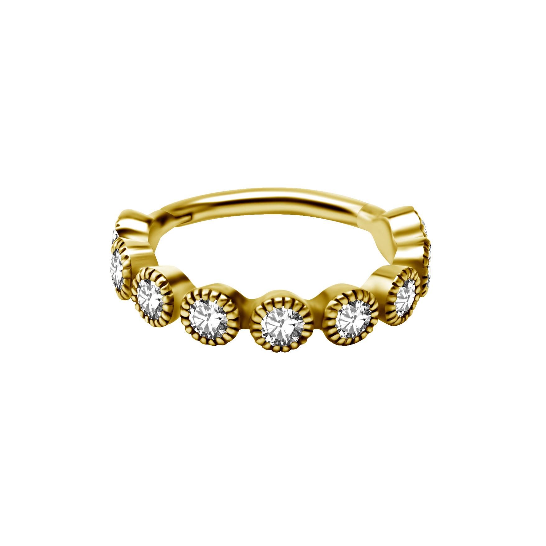 Clicker till conch - diamantfattade kristaller - 24K guld PVD