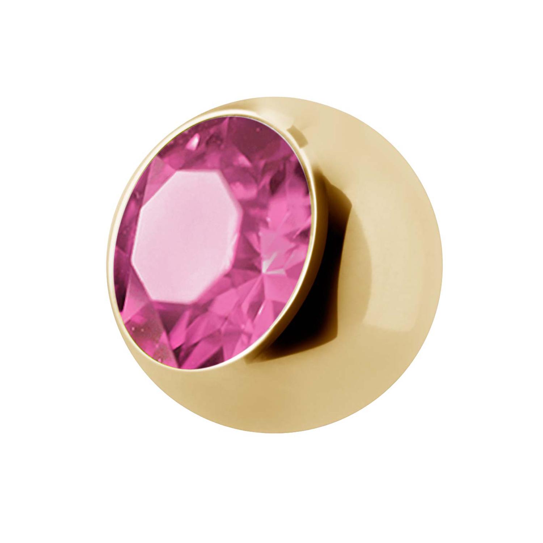 Extrakristall - 1,6 mm - Guld - Rosa kristall