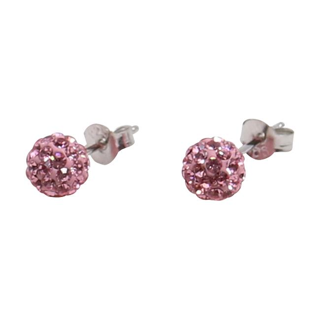 Silverörhängen, 8 mm med rosa swarovskikristaller