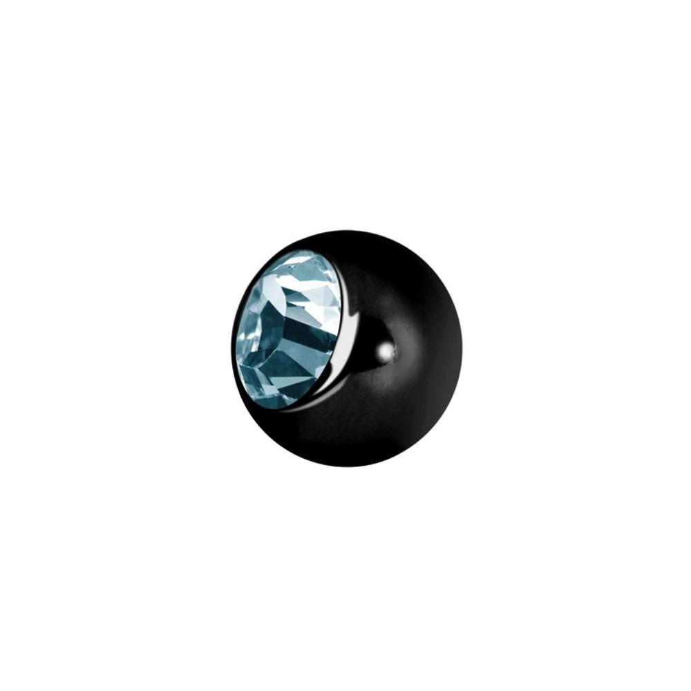 Liten extrakristall - 1,2 mm - Svart - Ljusblå kristall