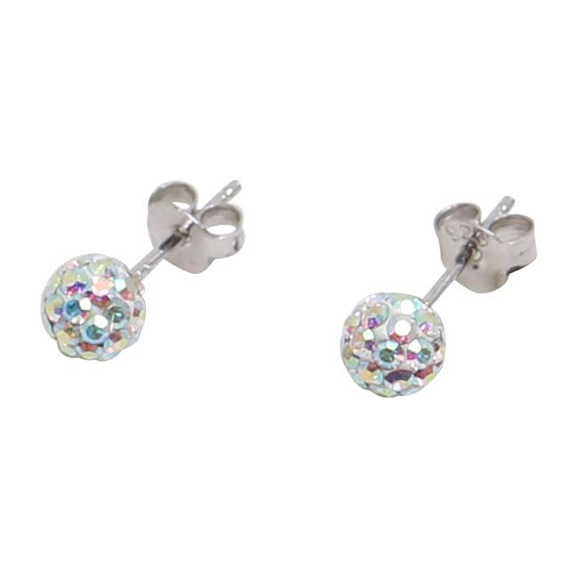 Silverörhängen, 6 mm, pärlemorskimrande swarovskikristaller