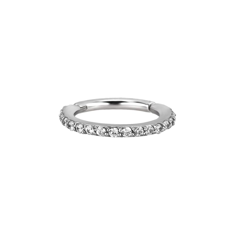 Clicker - large - 1,2 - öppningsbar - stål - vita kristaller