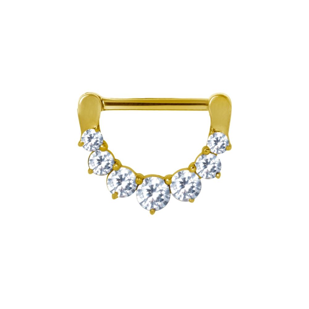 Clicker (11) - 1,6 mm - 12 & 14 mm - guld - vita kristaller