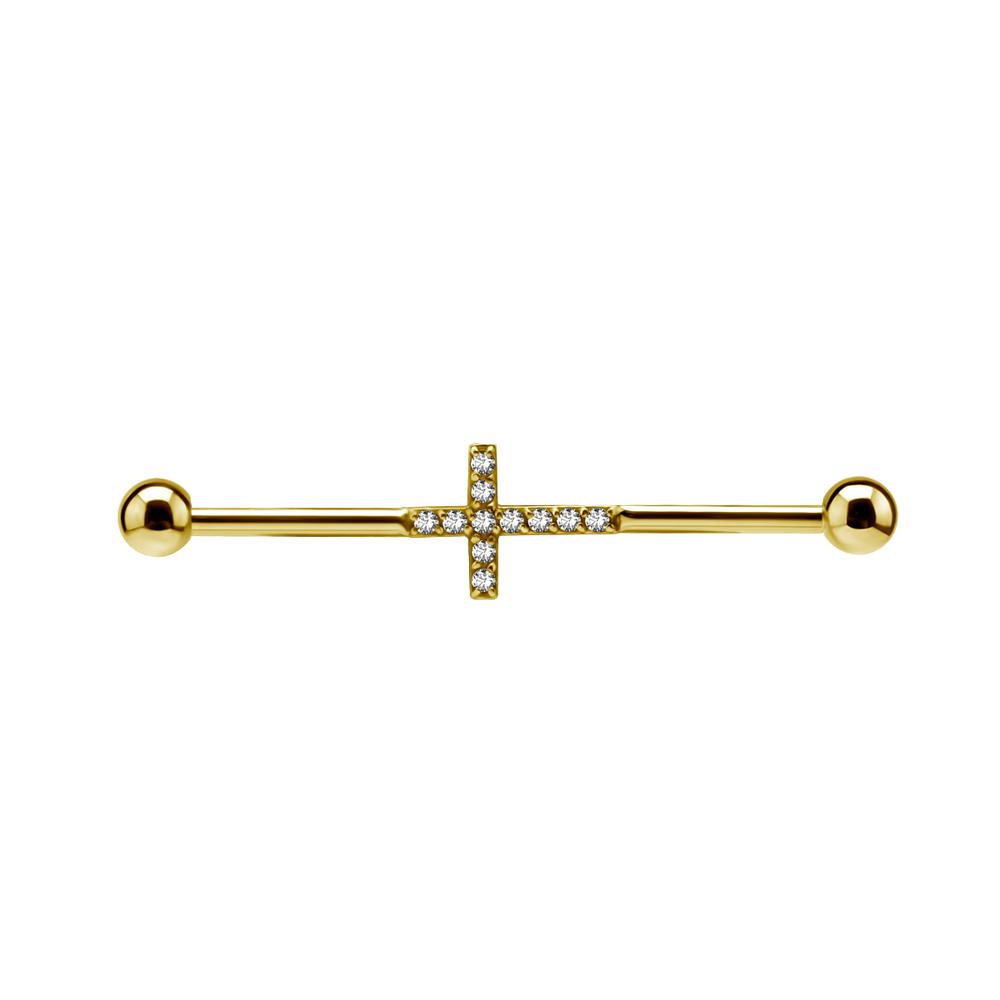 Lång barbell - 1,6 mm - 34 mm - kors med kristaller - guld