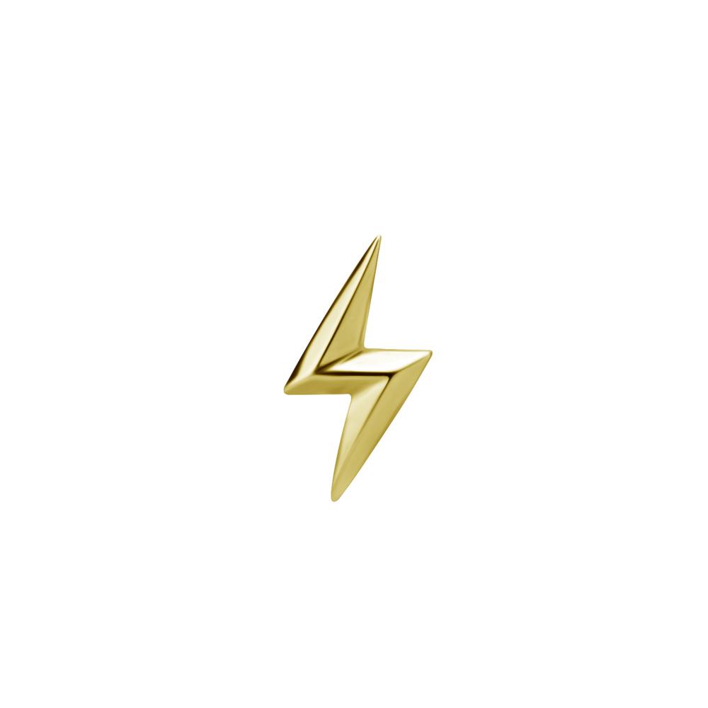 Topp till invändigt gängad labret - blixt - 24K guld PVD